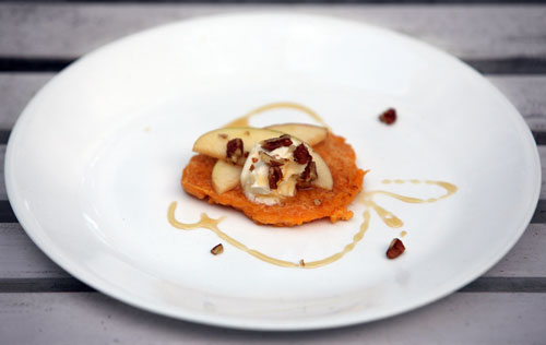 Butternut squash cakes topped with pecans honey apples and mascarpone cheese