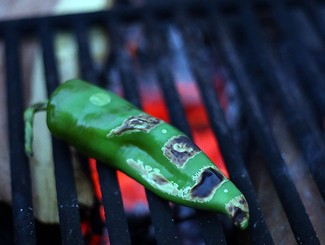 Grilling Anaheim Chile for Sweet Potato Corn Chowder