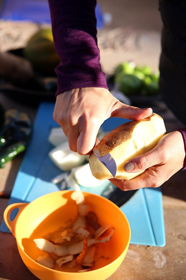 Peeling Potatoes for Sweet Potato Corn Chowder
