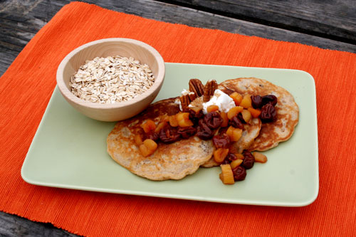 Oatmeal Pancakes With Dried Fruit Compote