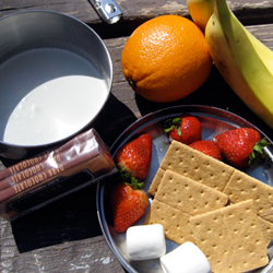 Ingredients for easy chocolate fondue