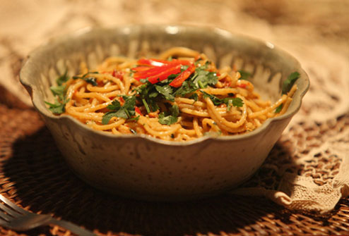 Noodles with Spicy Peanut Sauce Recipe