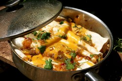 Skillet enchilada recipe with tomatillo chipotle sauce