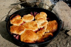 Dutch Oven Strawberry Rhubarb Cobbler