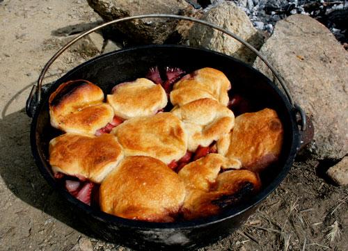 Dutch Oven Strawberry Rhubarb Cobbler