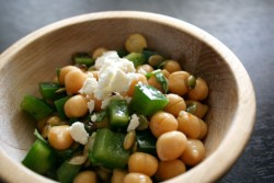 A little bowl of caramelized onion feta chickpea salad for a sunny summer day.