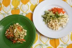 Summer Vegetable Zucchini Slaw in two different ways.