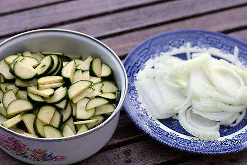 Sliced Zucchini and Onions