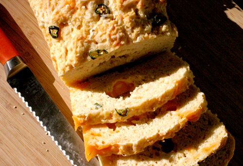 Loaf of jalapeno cheese quick bread