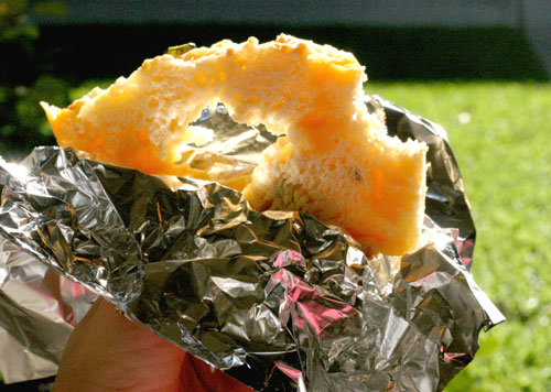 Slice of jalapeno cheese quick bread