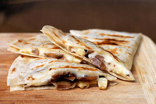 Mushroom and Corn Quesadillas