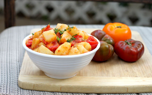 Spiced tomato potato salad recipe