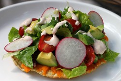 Sweet Potato Tostadas with Chipotle Lime Sour Cream