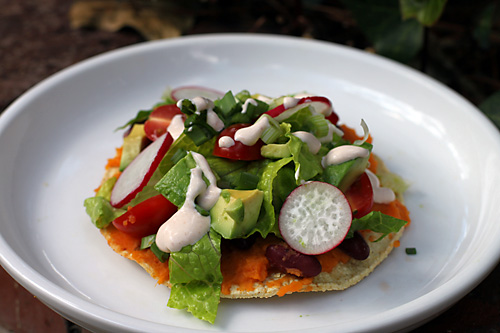 Camping Sweet Potato Tostadas with Chipotle Lime Sour Cream