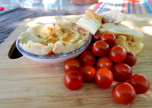 Garlicky Lima Bean Spread and Tomatoes