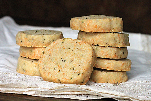 wrapped package of stilton and rosemary shortbread from the