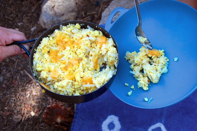 backpacking eggs and hashbrowns