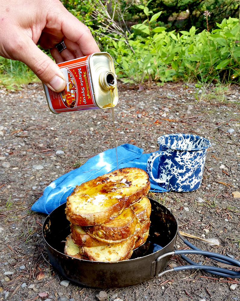 Backpacking french toast with syrup