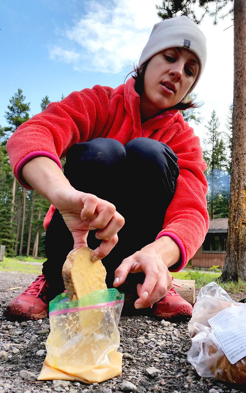 Emily making backpacking french toast
