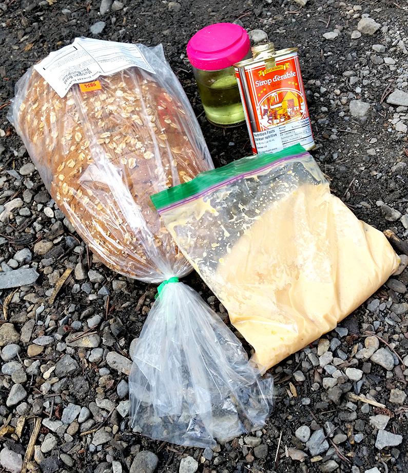 Backpacking ingredients for french toast