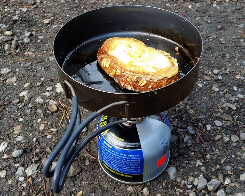 French toast on a backpacking stove