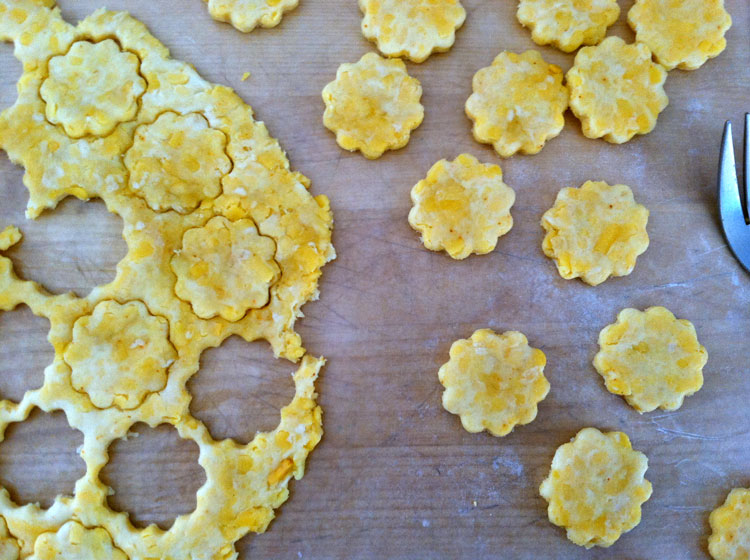 Homemade Cheddar Cheese Crackers with sharp cheddar.