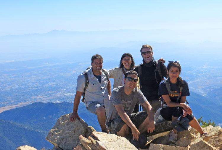 The Trailchuggers on top of Cucamonga Peak.