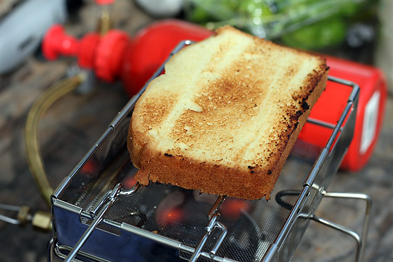 toasting-pound-cake-camping-stove