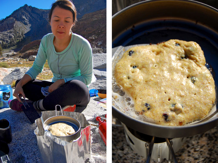 Cooking Blueberry Cornmeal Pancakes