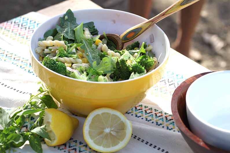 Arugula Corn Salad Pasta in bowl
