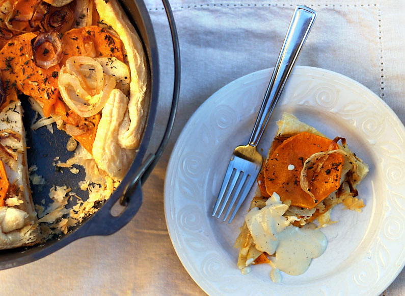 Dutch Oven Galette with Creamy Cashew Sauce