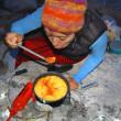 Salsa and corn dumpling soup