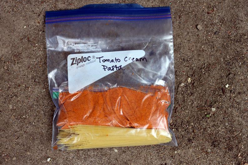 Pasta with Vegan Tomato Cream Sauce Backpacking Recipe